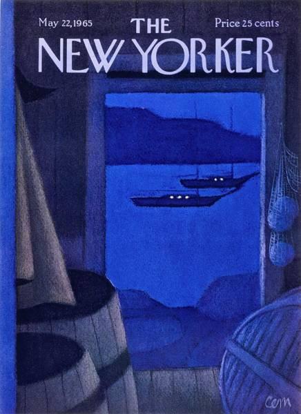 At Night Painting - New Yorker May 22nd 1965 by Charles Martin