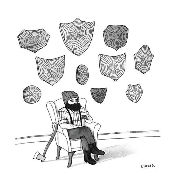Lumberjacks Drawing - New Yorker May 22nd, 2017 by Alice Cheng