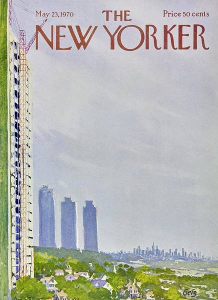 New York Landscape Painting - New Yorker May 23rd 1970 by Arthur Getz