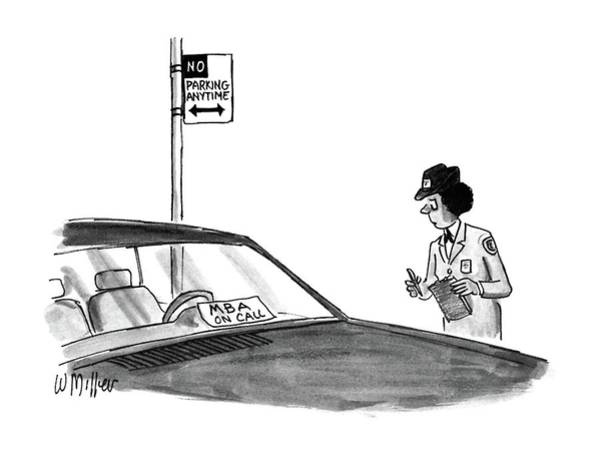 Traffic Drawing - New Yorker May 25th, 1987 by Warren Miller