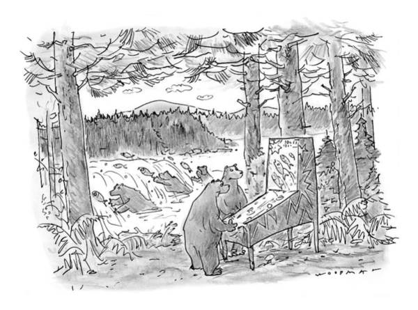 Fish Drawing - New Yorker May 25th, 1998 by Bill Woodman