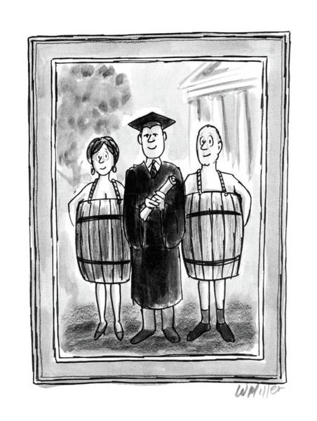 Graduation Drawing - New Yorker May 26th, 1986 by Warren Miller