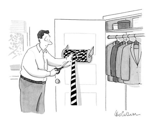 Necktie Wall Art - Drawing - New Yorker May 28th, 1990 by Leo Cullum