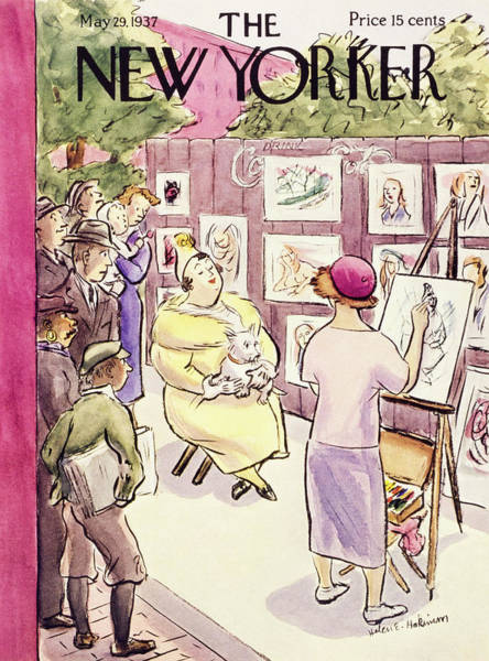 Male Portrait Painting - New Yorker May 29 1937 by Helene E. Hokinson