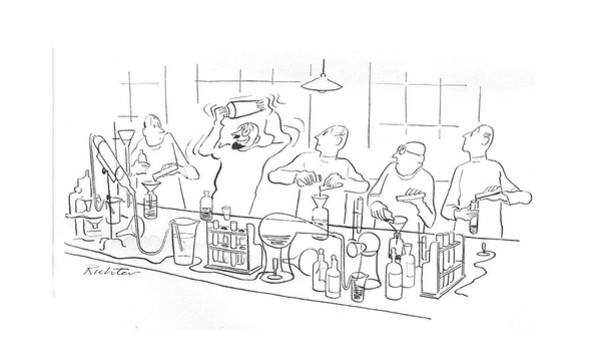 Mixed Drink Drawing - New Yorker May 29th, 1943 by Mischa Richter