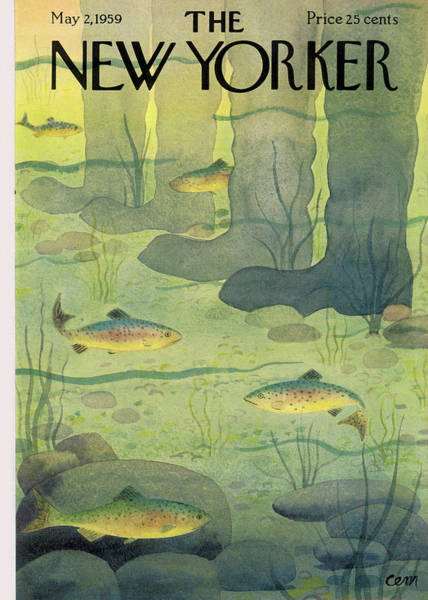Underwater Painting - New Yorker May 2nd, 1959 by Charles E Martin