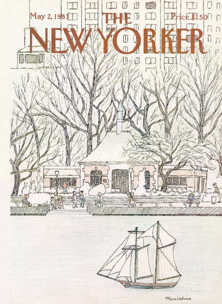 Water Painting - New Yorker May 2nd, 1983 by Marisabina Russo