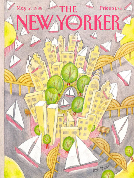 Skyscrapers Painting - New Yorker May 2nd, 1988 by Bob Knox