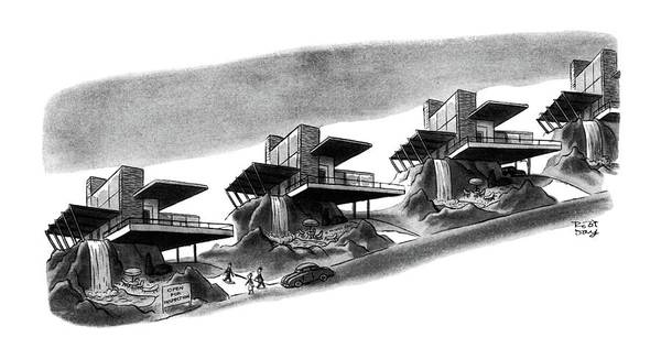Row Drawing - New Yorker May 3rd, 1952 by Robert J. Day