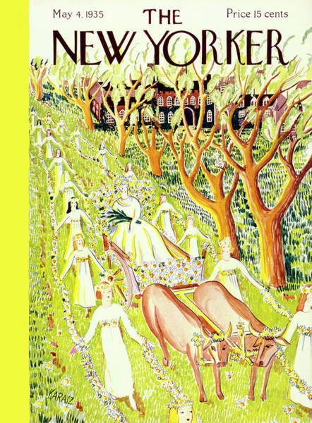 4 Seasons Painting - New Yorker May 4 1935 by Ilonka Karasz