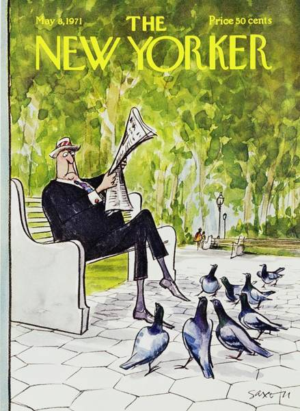 Pigeons Painting - New Yorker May 8th 1971 by Charles D Saxon