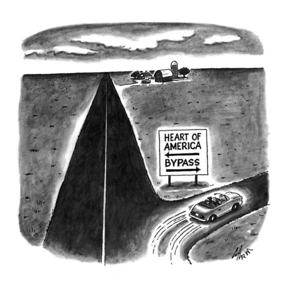 Highway Drawing - New Yorker May 9th, 1994 by Frank Cotham