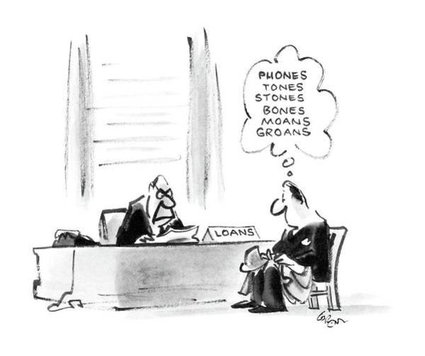 Debts Drawing - New Yorker November 10th, 1986 by Lee Lorenz