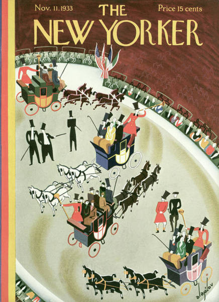 Carriages Painting - New Yorker November 11th, 1933 by Constantin Alajalov