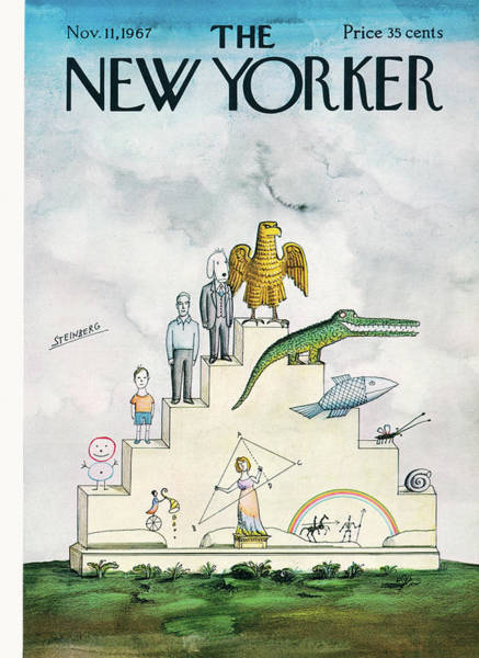 Adult Painting - New Yorker November 11th, 1967 by Saul Steinberg