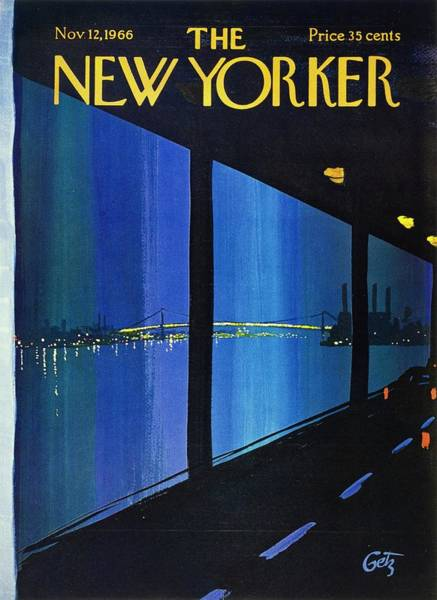City At Night Painting - New Yorker November 12th 1966 by Arthur Getz