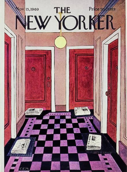 Tile Floor Painting - New Yorker November 15th 1969 by Charles Martin