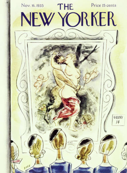 Kissing Painting - New Yorker November 16 1935 by Leonard Dove