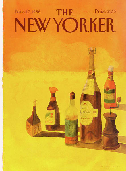 Yellow Background Painting - New Yorker November 17th, 1986 by Abel Quezada