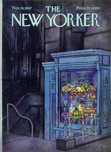City At Night Painting - New Yorker November 18th 1967 by Charles Martin