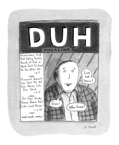 Magazine Cover Drawing - New Yorker November 18th, 1996 by Roz Chast