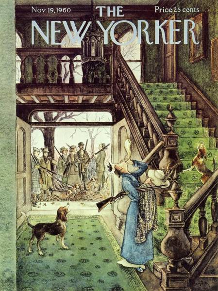 Staircase Painting - New Yorker November 19th 1960 by Mary Petty
