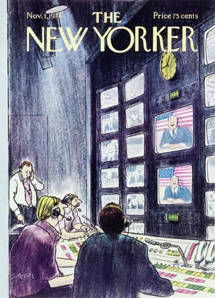American Culture Painting - New Yorker November 1st 1976 by Charles D Saxon