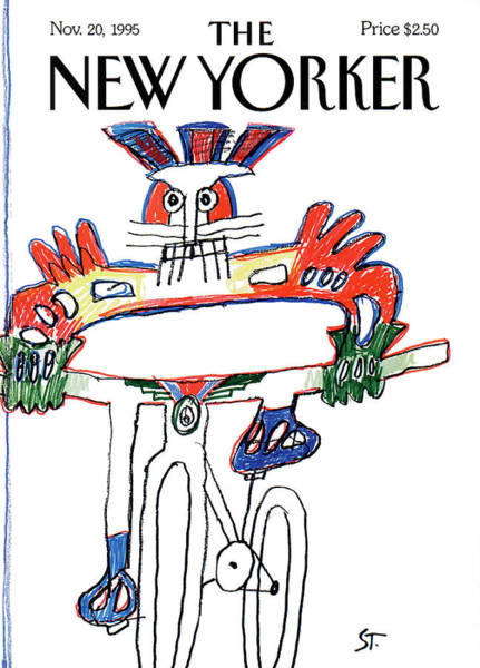 Bicycle Painting - New Yorker November 20th, 1995 by Saul Steinberg