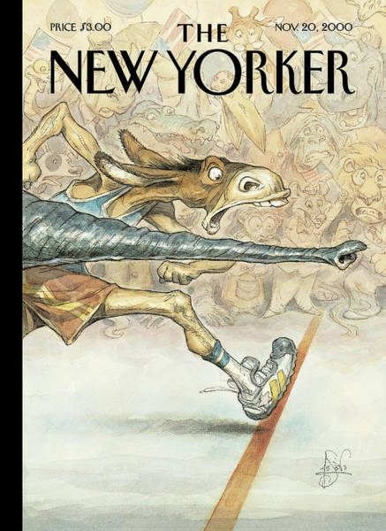 Race Painting - New Yorker November 20th, 2000 by Peter de Seve
