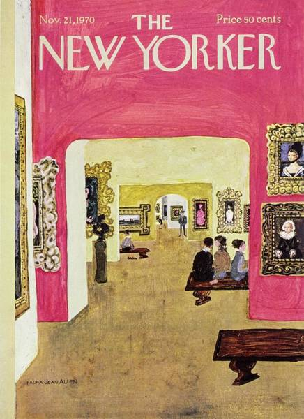 Male Portrait Painting - New Yorker November 21st 1970 by Laura Jean Allen