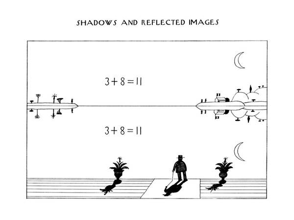Shadows Drawing - New Yorker November 21st, 1977 by Saul Steinberg
