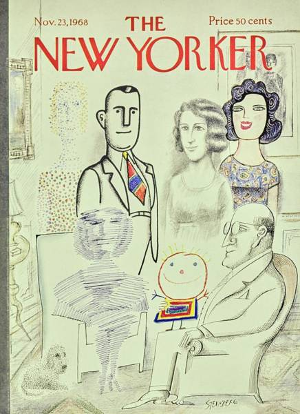 Group Of People Painting - New Yorker November 23rd 1968 by Saul Steinberg
