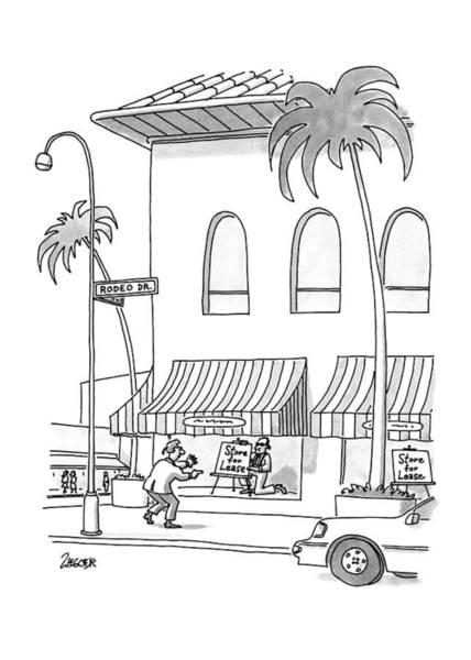 Window Drawing - New Yorker November 23rd, 1992 by Jack Ziegler