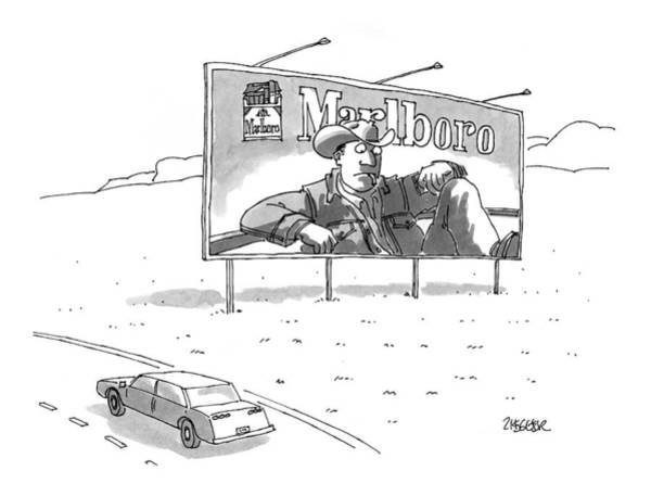 Highway Drawing - New Yorker November 23rd, 1998 by Jack Ziegler