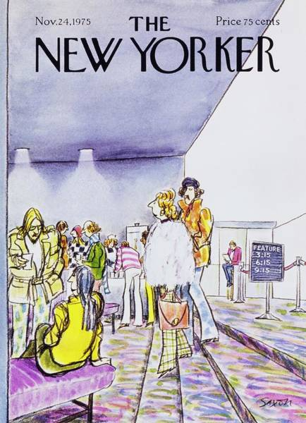 1975 Movies Painting - New Yorker November 24th 1975 by Charles D Saxon