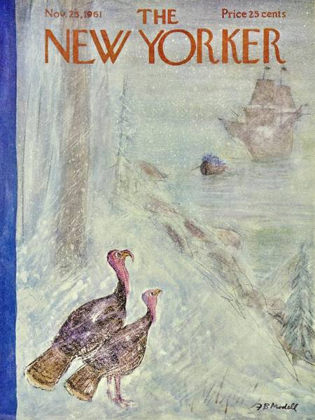 Thanksgiving Painting - New Yorker November 25th 1961 by Frank Modell