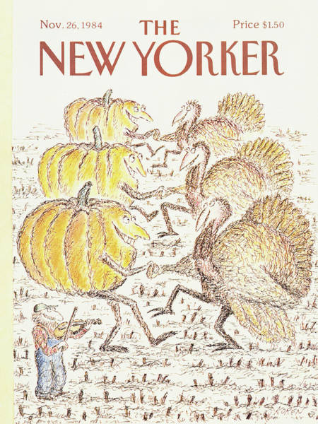 Fiddle Painting - New Yorker November 26th, 1984 by Edward Koren