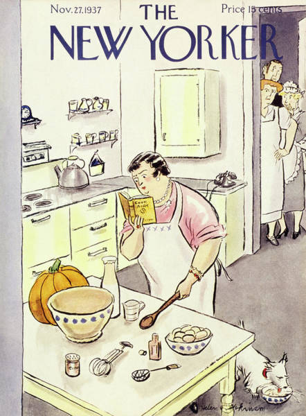 Cooking Painting - New Yorker November 27 1937 by Helene E. Hokinson