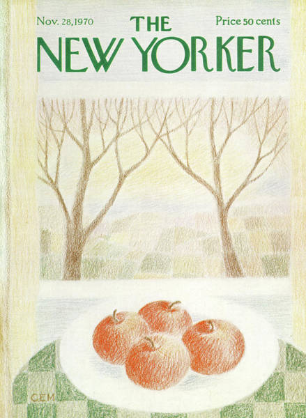 Apples Painting - New Yorker November 28th, 1970 by Charles E Martin