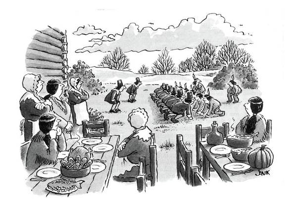 Thanksgiving Drawing - New Yorker November 28th, 1983 by John Jonik