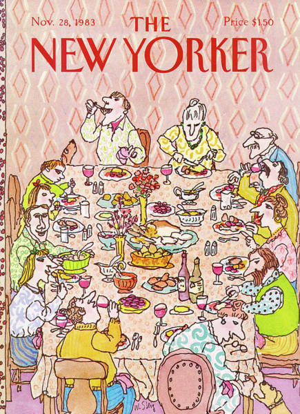 Table Painting - New Yorker November 28th, 1983 by William Steig