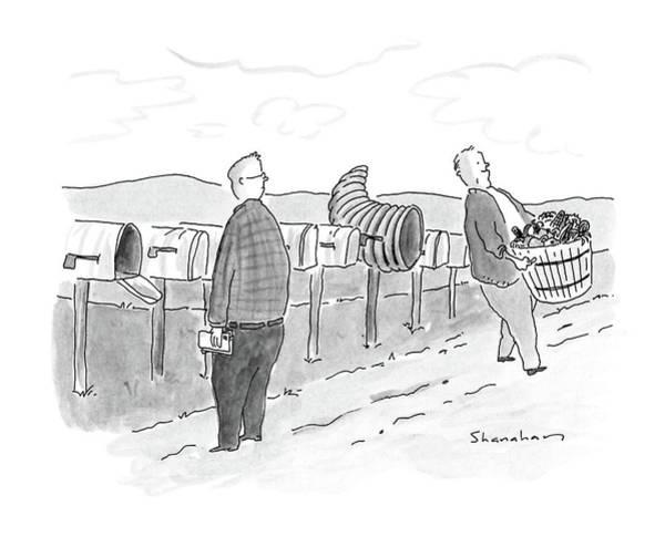Row Drawing - New Yorker November 28th, 1988 by Danny Shanahan