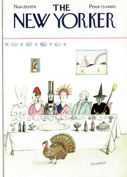 Table Painting - New Yorker November 29th, 1976 by Saul Steinberg