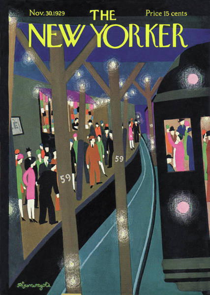 Night Painting - New Yorker November 30th, 1929 by Adolph K Kronengold