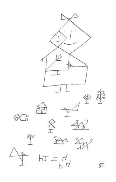 Angle Drawing - New Yorker November 30th, 1957 by Saul Steinberg