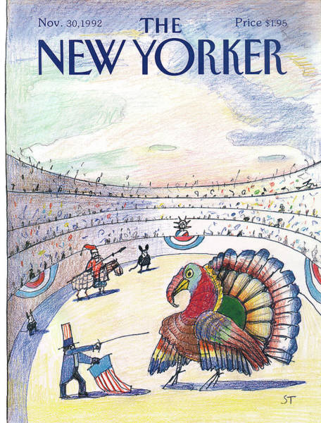 Thanksgiving Painting - New Yorker November 30th, 1992 by Saul Steinberg