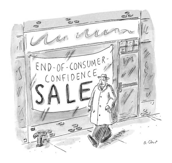 Storefront Drawing - New Yorker November 30th, 1998 by Roz Chast