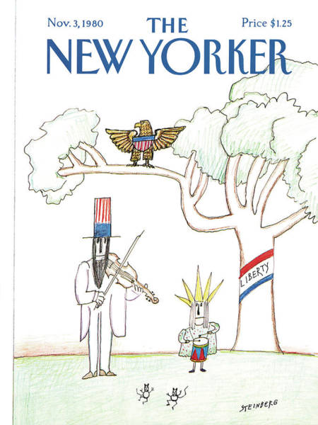 Violin Painting - New Yorker November 3rd, 1980 by Saul Steinberg