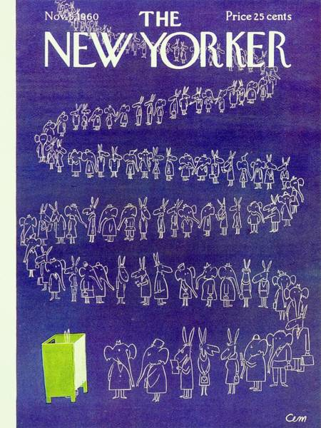 Election Painting - New Yorker November 5th 1960 by Charles Martin