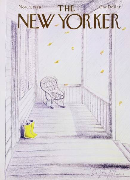 Rocking Chairs Painting - New Yorker November 5th 1979 by Eugene Mihaesco